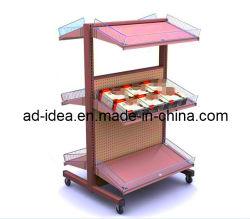 Lado de dupla camada de hardware/4 Tubo de Metal/alavanca/Equipamentos de Exibição de rack de metal/suporte de ecrã/Display para Rack Mercearia/pão/Loja Luminárias/ (AD-4252)