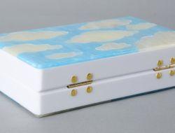 Borsa acrilica rettangolare su ordinazione del sacchetto del sacchetto acrilico bianco della nube di frizione di sera e del cielo blu per le donne