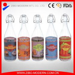 1 litre 1000ml de lait de boissons haut chapeau de pivotement clip bouteille d'eau en verre de jus