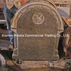 Europäischer kundenspezifischer Marmor/Granit-Grundstein/Finanzanzeige/Denkmal/Grabstein/Denkmal mit dem Seil, Blumen und Vogel, die auf die Oberseite schnitzen