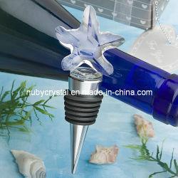 Tapón de botella de vino Estrella de Mar de cristal favores de boda