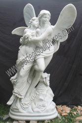 Statue de pierre sculpture sculpture en marbre Ange pour la décoration de jardin (sy-X1718)