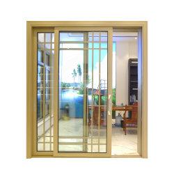 الباب المنزلق المصنوع من الألومنيوم/لوحتان، شكل منزلق/ثلاثة مسارات، شريحة من الألومنيوم/زجاج مستدق/فناء/باب متأرجح/باب قابل للطي