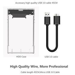 De Transparante Kleur USB 3.0 van de Bijlage van 2.5 Duim HDD aan SATA III Vrije Hulpmiddel van het Geval SSD van de Aandrijving van de Harde schijf van de Doos HDD van Uasp HD het Externe Externe
