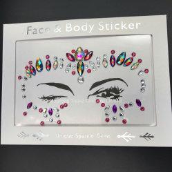 Les paillettes en résine face adhésive Gems Rhinestone Jewel Festival partie Body Tattoo Stickers Décoration Visage et Yeux (SR-36)