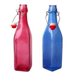 250ml 500ml 1000mlの青いシリーズSquare Glass Le Buckle Bottle