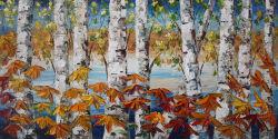 Het met de hand gemaakte Olieverfschilderij van het Landschap van de Bosbouw van de Berk op Houten Frame