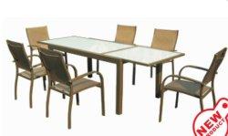 현대적인 야외 레저 알루미늄 레스토랑 식탁 및 의자 정원 세트(F1135)