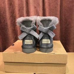 جلد رمادي معوج ثلج حذاء مائي من الجلد عالي الجودة نساء أصليّات أحذية السيدات