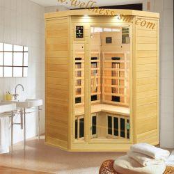 2 personnes Sauna à infrarouge lointain coin sec Salle rendu de la pruche ou de bois de cèdre avec tige de chauffage en céramique ou de carbone pour l'intérieur du panneau de la famille de chauffage plus chaude appareil
