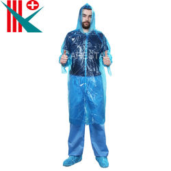 الملابس الواقية للاستعمال مرة واحدة الملابس لطبقة المطر البلاستيكية للبالغين