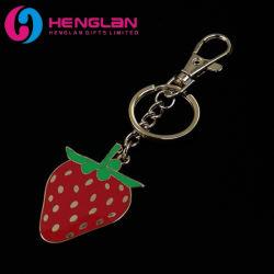 Promotionele geschenken Key Chain Wholesale Custom Logo Fashion Keyring Gold Plated Hard Enameled Metal Strawberry Sleutelhanger