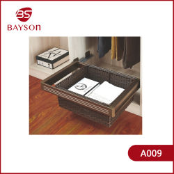 Шкаф и вытяните мягкий закрыть хранения плетеной корзины с потайной слайд (A009)