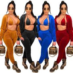 3 conjuntos de peças Bra Modelitos Coat Pants mulheres Material Veludo Agasalho Sulcado Sweatpants Conjuntos de capuz