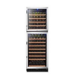 Novíssimo 162 garrafas vidro temperado portas duplas do refrigerador de Vinho do Compressor