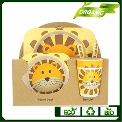 性質のタケファイバーはディナー・ウェアの版の食事用食器セット、スプーンの皿の版ボールによってセットされるタケファイバーテーブルウェア子供をからかう
