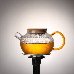 Venda por grosso de vidro de três cores bebendo bule de vidro de alta Boroslicate Mini bule de chá com tampa de madeira