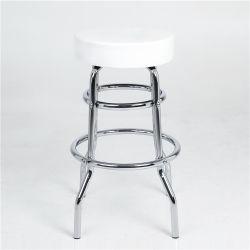 Оптовая торговля PU крышку бар стул табуреткам белый два кольца дешевые металлические бар табурет