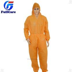 使い捨て可能なNonwoven PP SMSのオレンジのつなぎ服