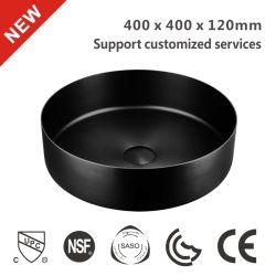多彩な無光沢の黒く贅沢な現代ステンレス鋼手の毛のポップアップ水切り器400が付いている円形の洗面器