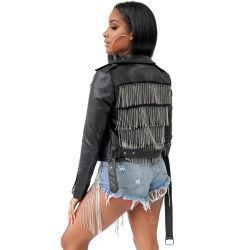 Nueva moda Streetwear corta de cuero negro de la Mujer Chaqueta de cuero Biker con borla