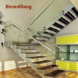 Design elegante de vidro de aço escadas prefabricadas para decoração de interiores