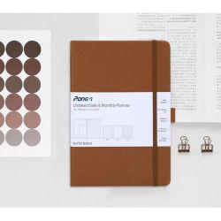 PU-leren notebook met hardcover en elastieken sluiting met gestippelde rastervoering Binnenpagina Notebook Promotioneel gepersonaliseerd A5-papier