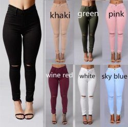 7 kleuren Hoge Waist Skinny Jeans Vrouwen Denim Jeans gescheurd De Broeken van het potlood Jeggings voor dames
