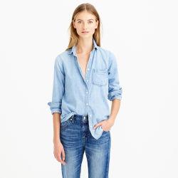 Camicia lunga del denim del manicotto di affari di modo delle donne con l'azzurro
