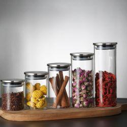 Bol en verre contenant des aliments de haute en verre borosilicaté Jar de stockage avec couvercle étanche