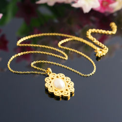 Joyas de acero inoxidable de la Moda Mujer Sol Conjunto de collar de perlas