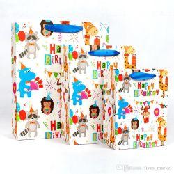 플라밍고 유니콘 공룡 종이 가방 토트 핸들 백 재활용 가능 상점 매장 포장 가방 쇼핑 가방 선물 포장