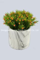 Pianta artificiale dell'erba di Hedyotis del PE con il POT di marmo (51287)