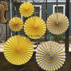6-DELIGE papierventilator voor papierophanging Decoratieset, 6 stuks Bloem Origami Fan Flower