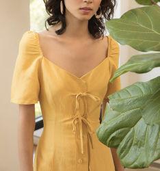 Леди мода причинных платья женщин довольно горчицы льняной одежде