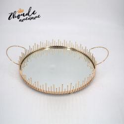 Novo Design Hotel Restaurante Casa Decoração de mesa de Vidro Metal vaidade espelhados que serve a bandeja