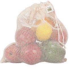Ecologia reutilizáveis lavável malha de algodão produzir Bag para frutas vegetais
