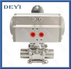"NPT 1"" 공압식 싱글 액터형 공기 액추에이터 위생 3피스 볼 밸브"