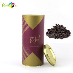 Luxury Tubo de papelão Papel Chá Grau Alimentício Embalagem Dom Chá Caixa do Cilindro