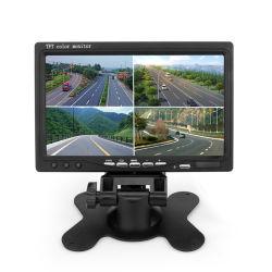 4분할 스크린 4 AV 입력 리모컨이 있는 7인치 차량용 모니터 후진 주차 모니터, 프론트/좌측/우측/후방 카메라(옵션