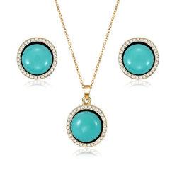 Conjunto de la moda de Joyería de pendientes de collar colgante de turquesa