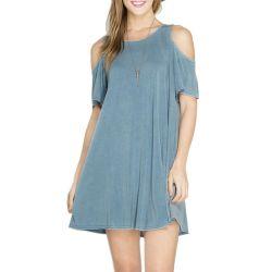 Fashion femmes décontractées Short Sleeve O-cou robe de changement d'été de l'épaule à froid des vêtements