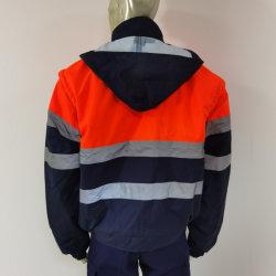 嵐の折り返しが付いている冬によってパッドを入れられる偶然の安全Workwearの取り外し可能な袖の帽子の立場カラートラフィックのこんにちはすなわちジャケット