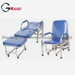 L'équipement hospitalier médical préposé en acier inoxydable Lit pliant reste Salle d'attente Président d'accompagnement avec accoudoir