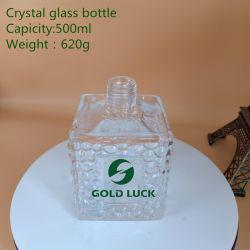 Hot Sale 620g 500ml de liqueur de Cristal Le flacon en verre pour la Vodka/esprit /Whiskey /Brandy