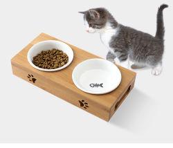 Fournitures pour animaux de compagnie bols de nourriture pour chat chien double chargeur de l'eau Bol en céramique plats d'alimentation en rack de bambou chien chats bol potable
