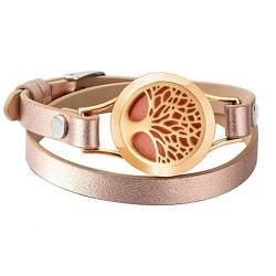 Albero di colore dell'oro della Rosa del braccialetto del cuoio del diffusore del profumo di vita