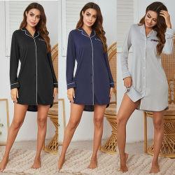 As mulheres grossista Botão de manga longa para cima vestido Sleepwear Frouxo de poliéster Sexy pijamas roupa de dormir