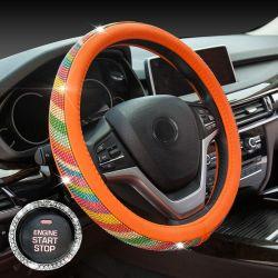 Voiture de luxe diamant cristal strass le couvercle du volant cuir cache roue de direction auto voiture intérieur Accessoires de jeu
