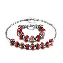 Cordão de cristal vermelho brilhante conjunto de jóias com cordão Murano